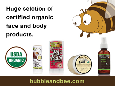 Bubbleandbee.com offers a huge selection of organic face and body products.