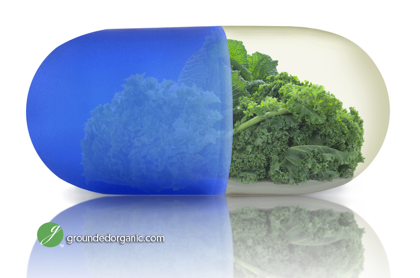 Super pill with kale and green vegetables